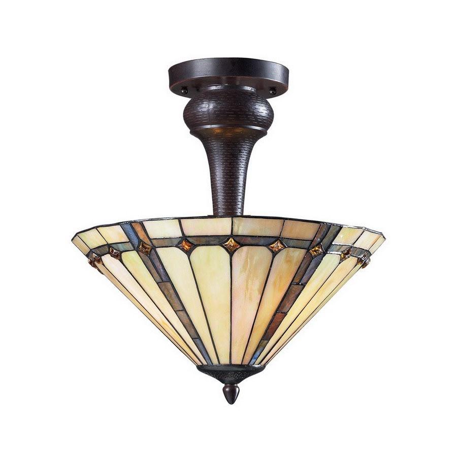 Z-Lite 16-in W Chestnut Bronze Art Glass Semi-Flush Mount Light
