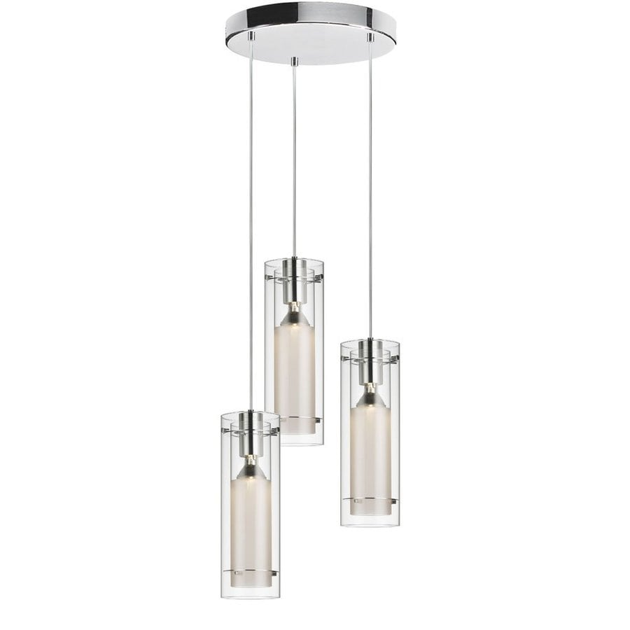 Dainolite Lighting 12-in Polished Chrome Industrial Multi-Light Clear Glass Cylinder Pendant