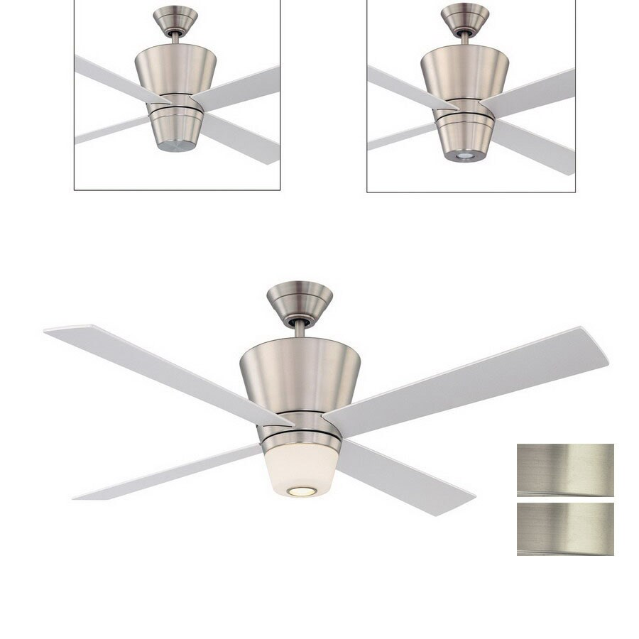 Kendal Lighting 52-in Contour Satin Nickel Ceiling Fan with Light Kit and Remote