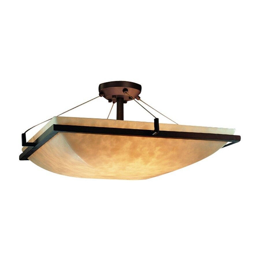 Cascadia Lighting Clouds 20-in W Dark Bronze Tea-Stained Glass Semi-Flush Mount Light