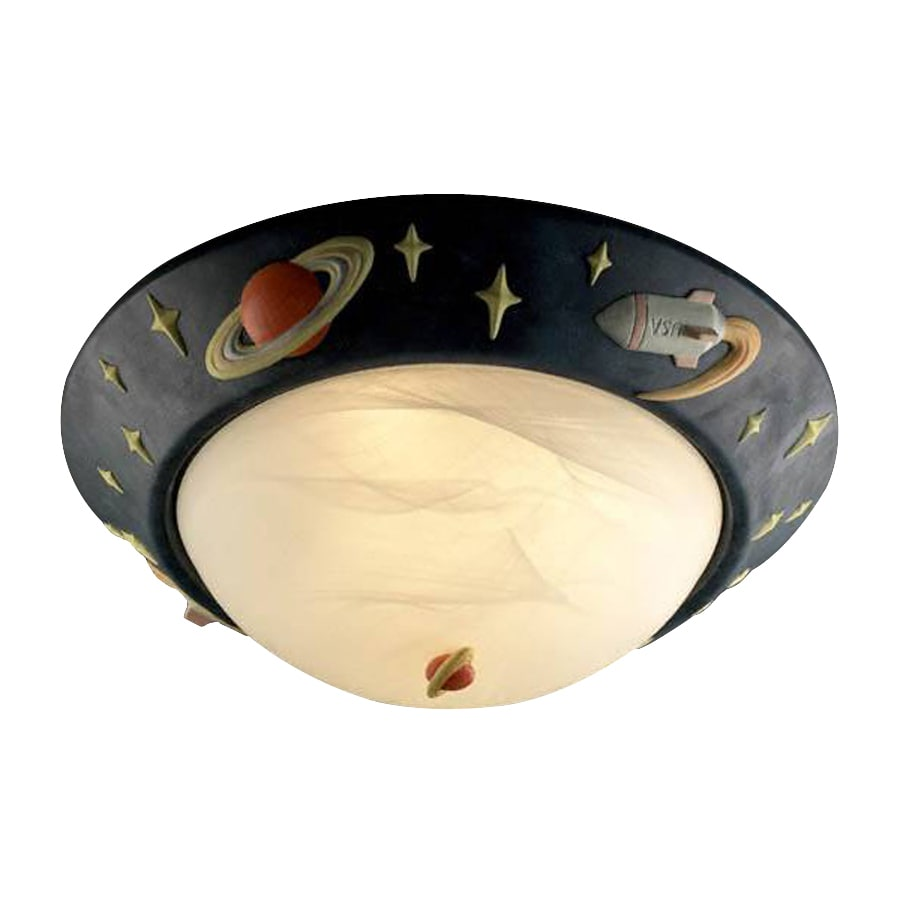 Shop cascadia lighting rocket ship 17 in w multicolor kids ceiling flush mount light at lowes com