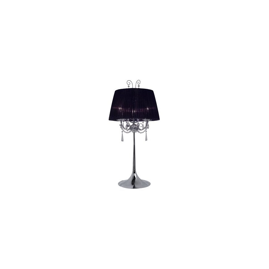 EGLO 29.5-in Chrome Indoor Table Lamp with Fabric Shade