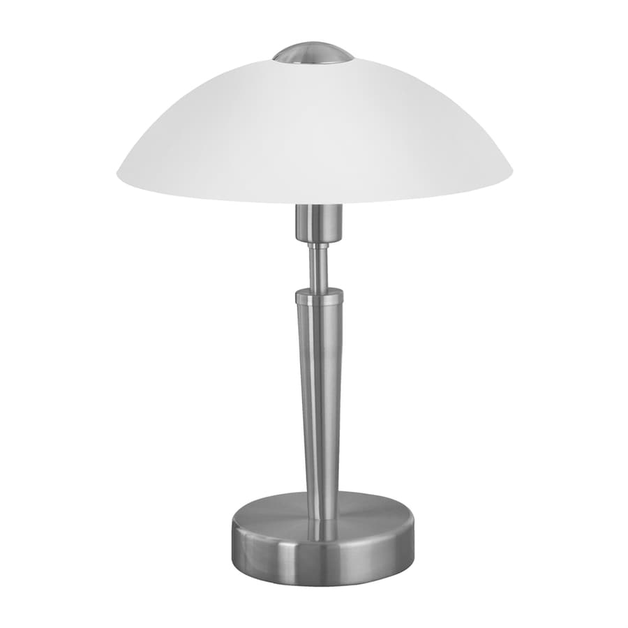 Ordinaire EGLO Solo 14 In Nickel Touch Table Lamp With Glass Shade