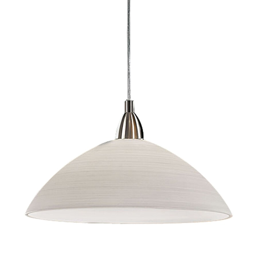 EGLO Lord 14-in Matte Nickel Single Textured Glass Dome Pendant