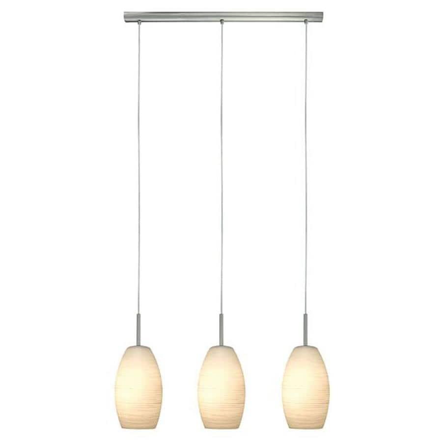 EGLO Batista 1 W 3-Light Matte Nickel Kitchen Island Light with White Shade