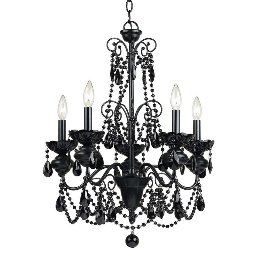 AF Lighting Mischief 21-in 5-Light Black Candle Chandelier