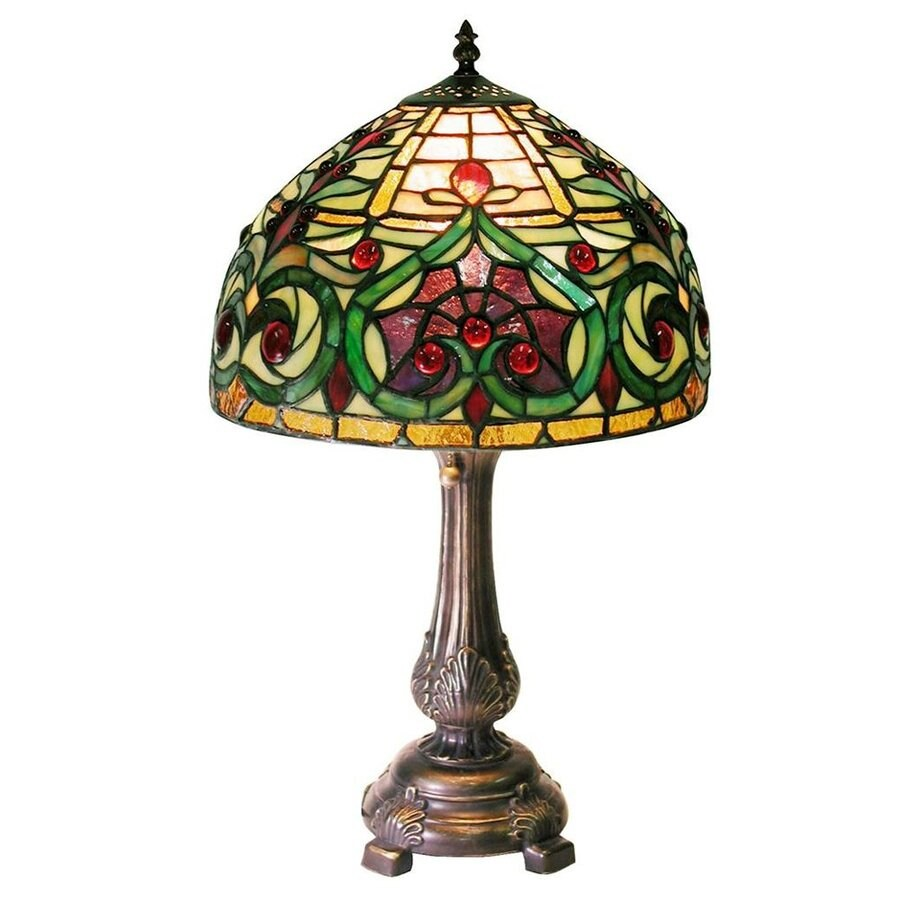 Warehouse of Tiffany 21-in Bronze Tiffany-Style Table Lamp with Glass Shade