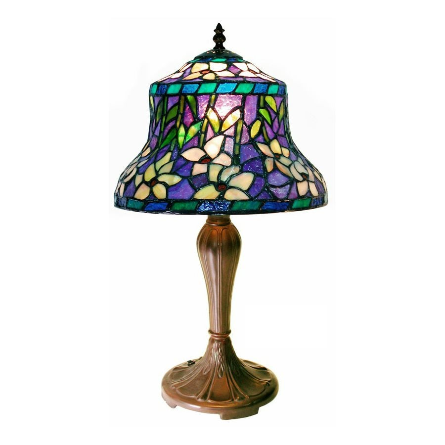 Warehouse of Tiffany Sunflower 20-in  Electrical Outlet Table Lamp with Glass Shade