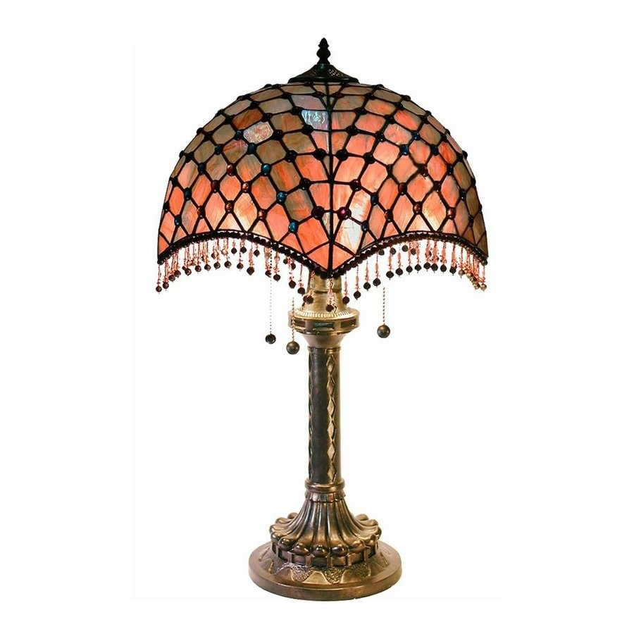 Warehouse of Tiffany 26-in Bronze Tiffany-Style Table Lamp with Glass Shade