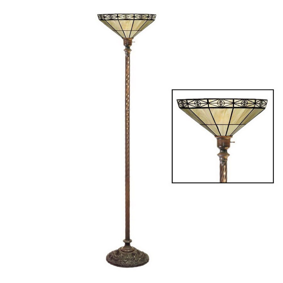 Warehouse Of Tiffany Mission 72 In Antique Bronze Craftsman/Mission  Torchiere Indoor Floor Lamp