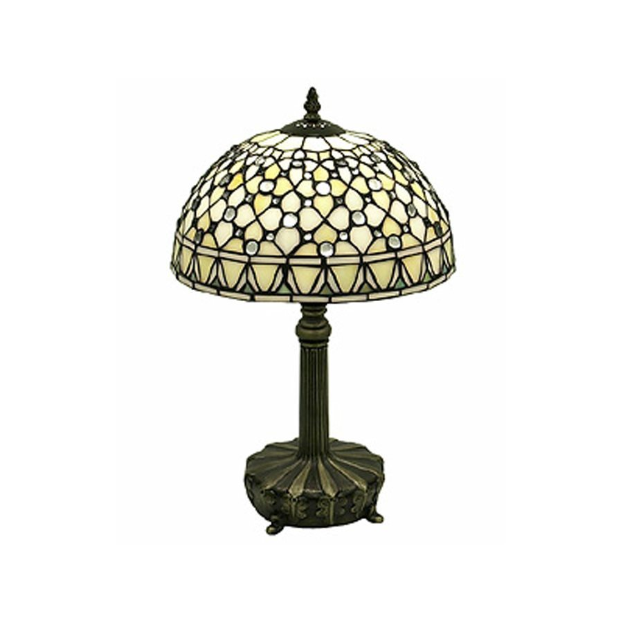 Warehouse of Tiffany Jewel 19-in  Electrical Outlet  Table Lamp with Glass Shade