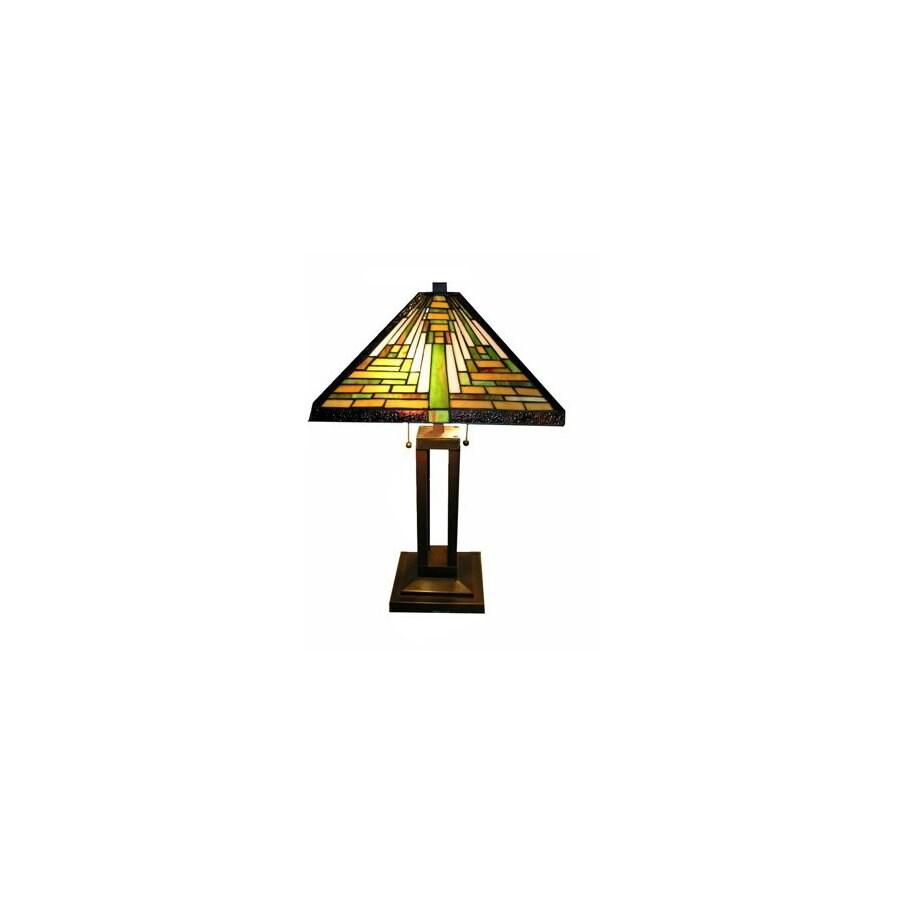 Warehouse of Tiffany Tiffany 24-in Bronze Tiffany-Style Table Lamp with Glass Shade