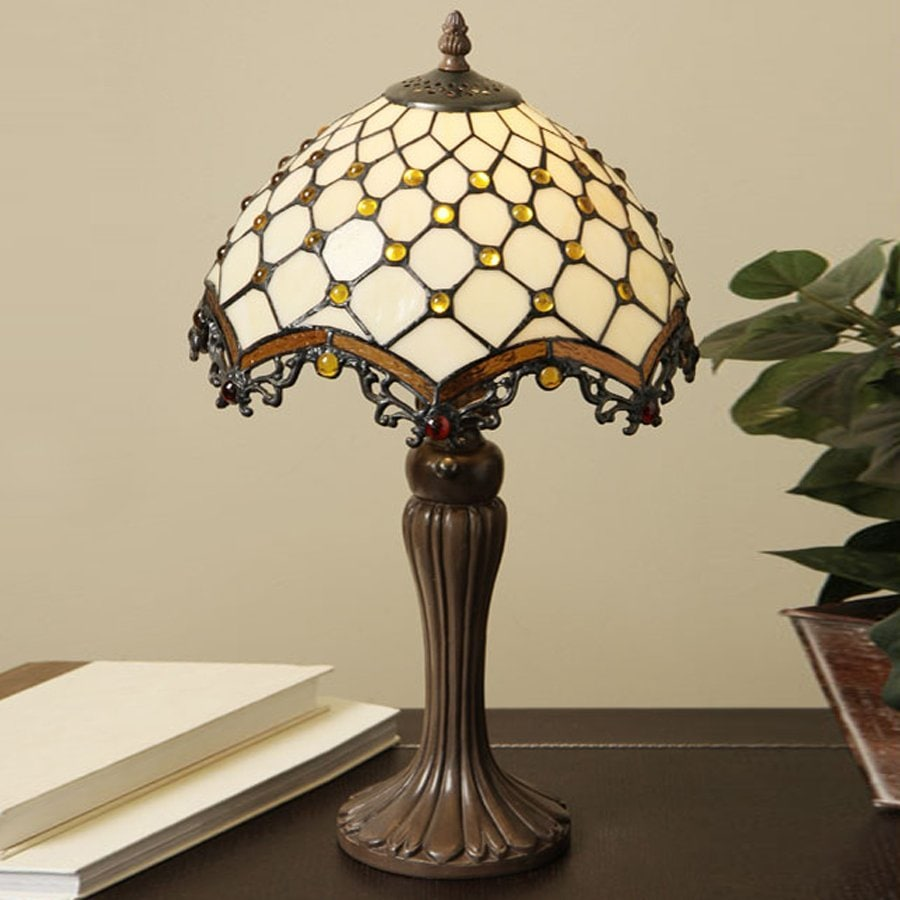 Warehouse of Tiffany Roman 21-in Bronze  Electrical Outlet Table Lamp with Glass Shade