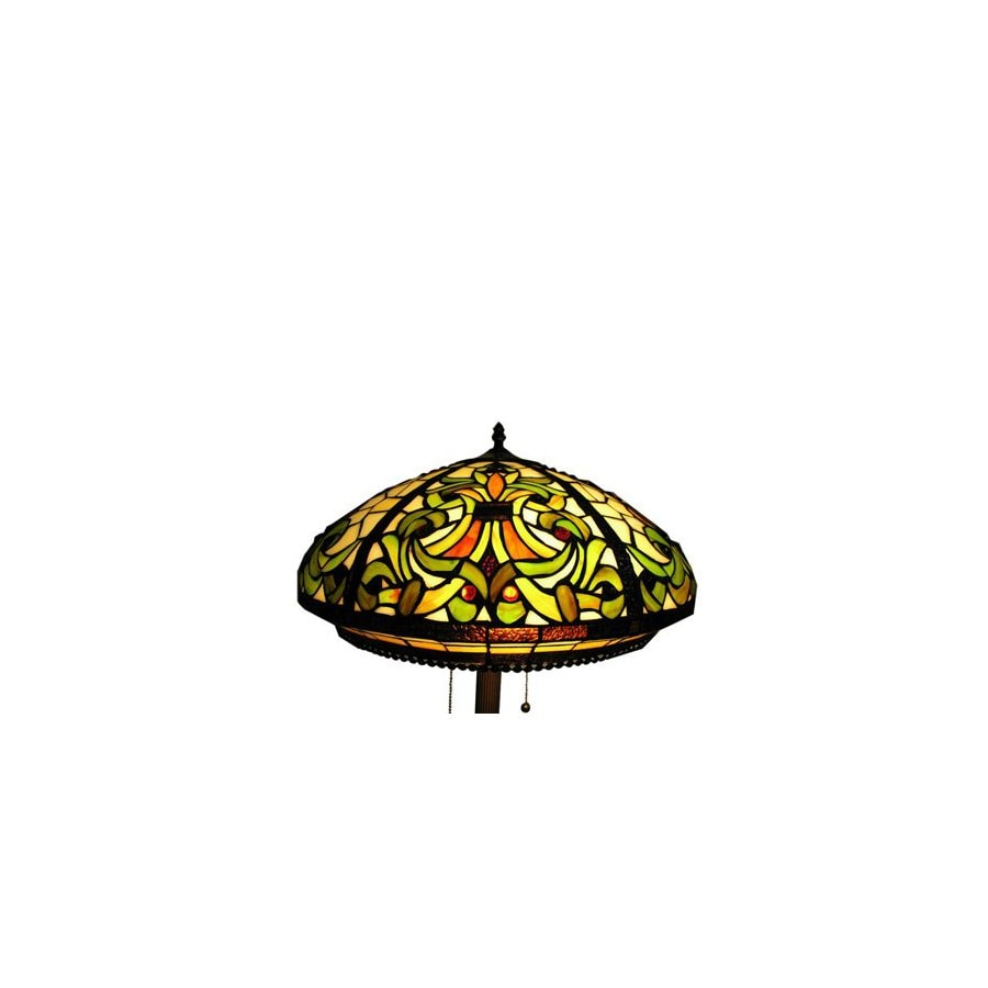 Warehouse of Tiffany 62-in Bronze Tiffany-Style Shaded Floor Lamp with Glass Shade
