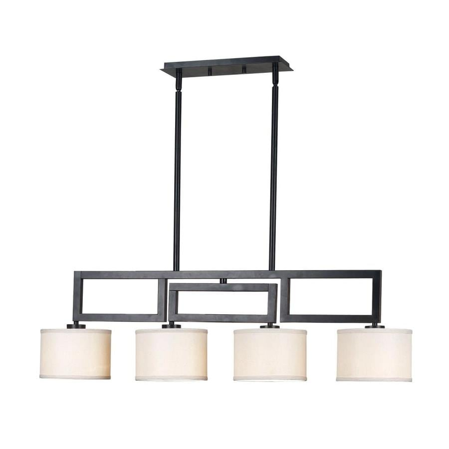 Kenroy Home Endicott 18-in W 4-Light Oil-Rubbed Bronze Kitchen Island Light with Fabric Shade