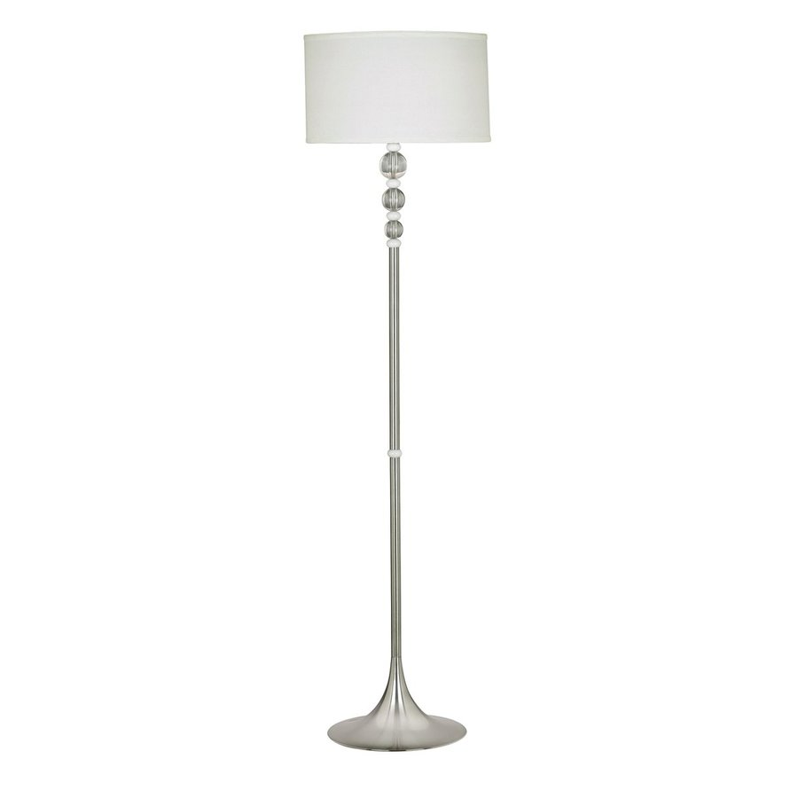 Kenroy Home Luella 58-in Brushed Steel Rotary Socket Floor Lamp with Fabric Shade