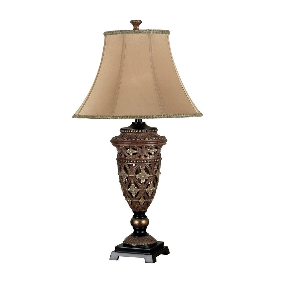 Kenroy Home Sofie 35-in 3-Way Golden Bronze Table Lamp with Fabric Shade