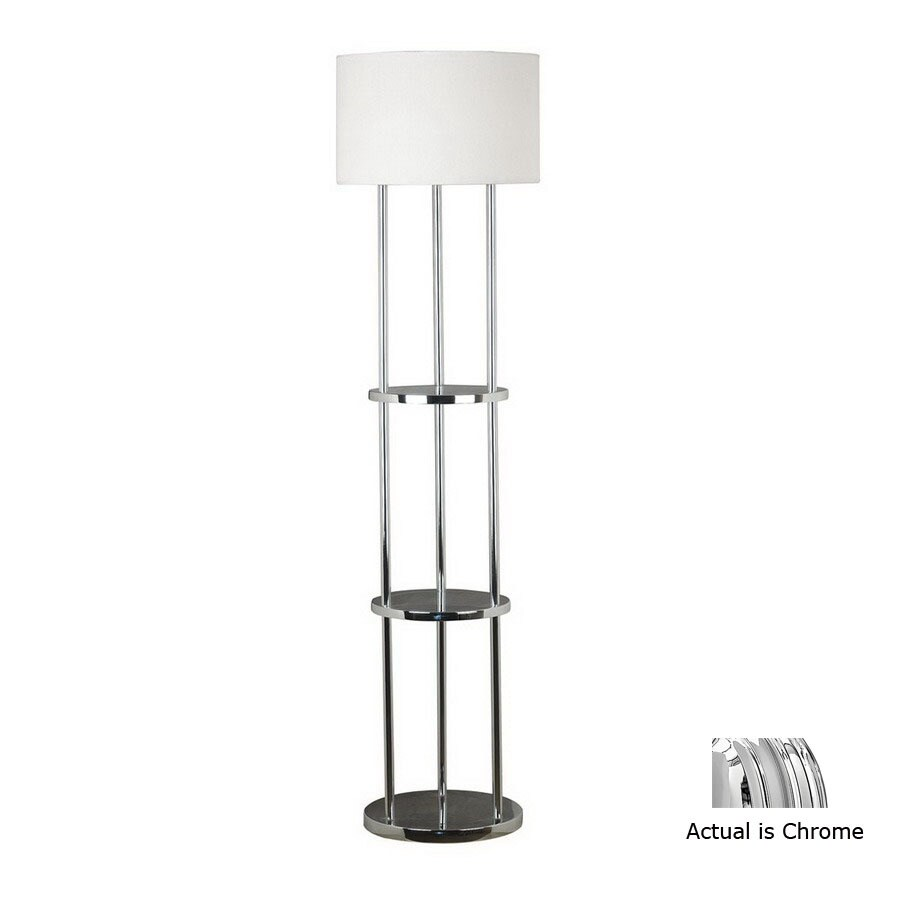 Shop kenroy home 60 1 2 in 3 way chrome floor lamp with for Floor lamp with shelves lowes