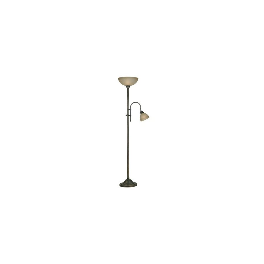 Kenroy Home 73-in Bronze Heritage Torchiere with Side-Light Indoor Floor Lamp with Glass Shade