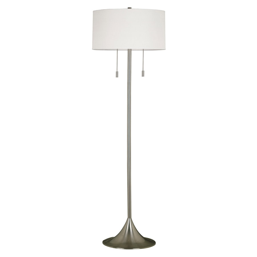 Kenroy Home Stowe 61-in Brushed Steel Shaded Floor Lamp with Fabric Shade