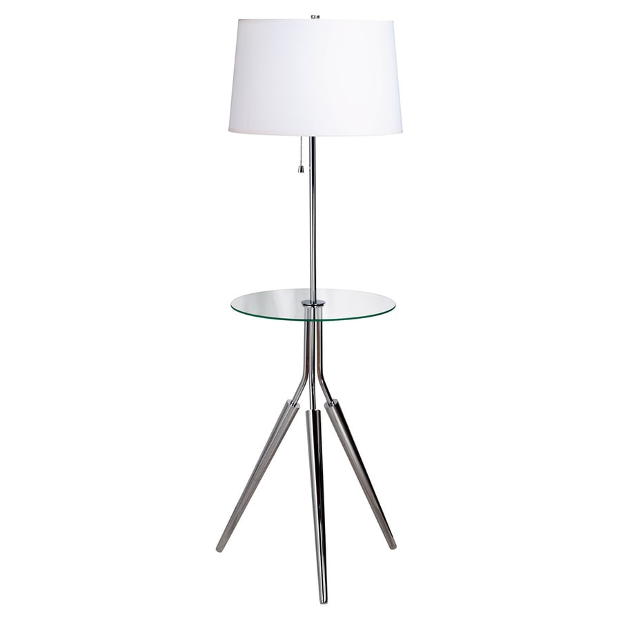 Kenroy Home Rosie 57.5-in Chrome Tripod Built-in Table Floor Lamp with Fabric Shade