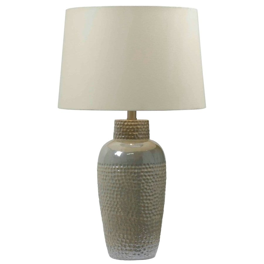 Kenroy Home Faade 28-in 3-Way Iridescent Table Lamp with Fabric Shade
