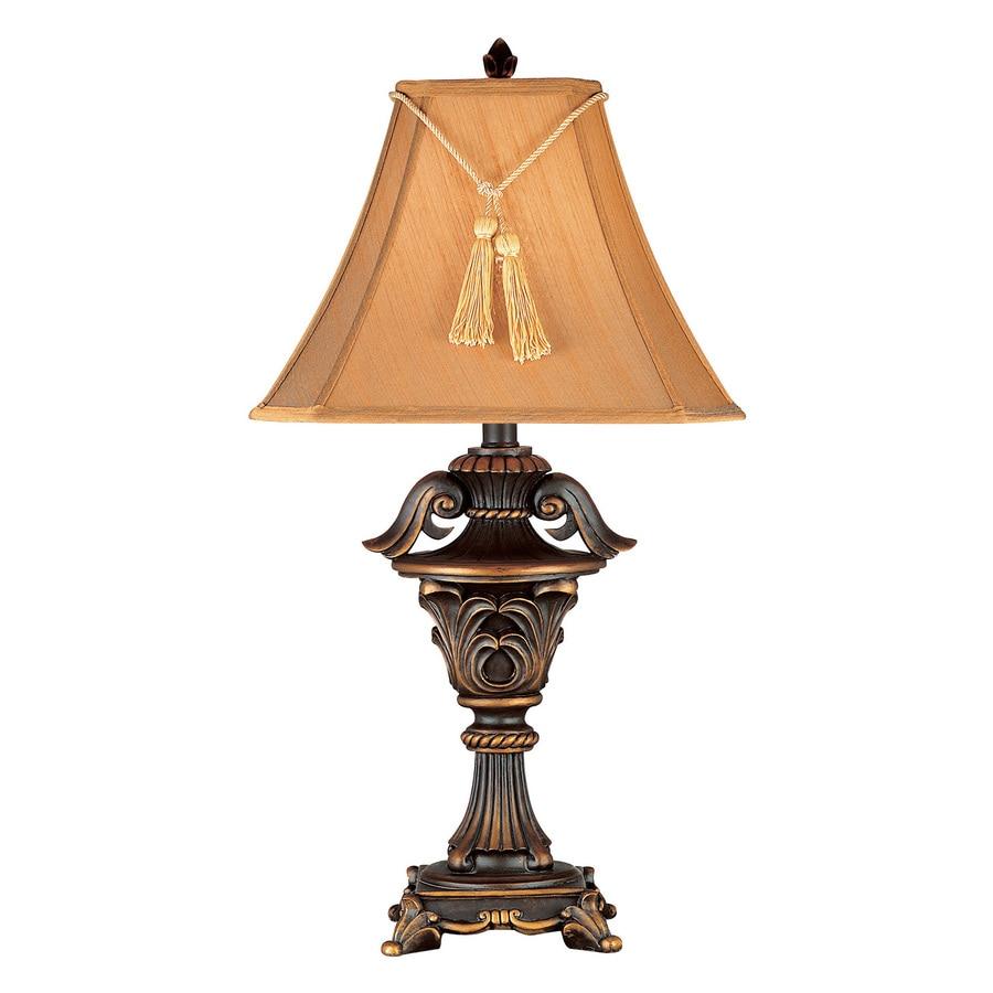 Kenroy Home Rowan 32.5-in Metallic bronze Plug-In 3-way Table Lamp with Fabric Shade