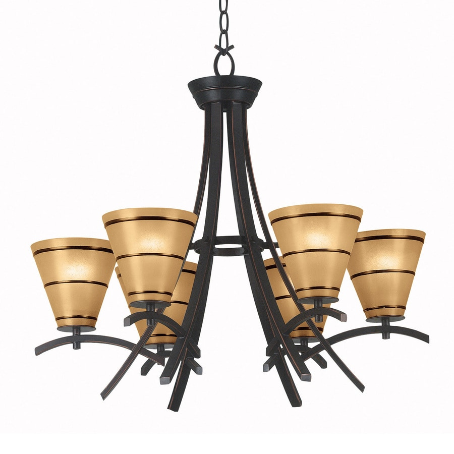 Kenroy Home Wright 27.51-in 6-Light Oil Rubbed Bronze Craftsman Tinted Glass Shaded Chandelier