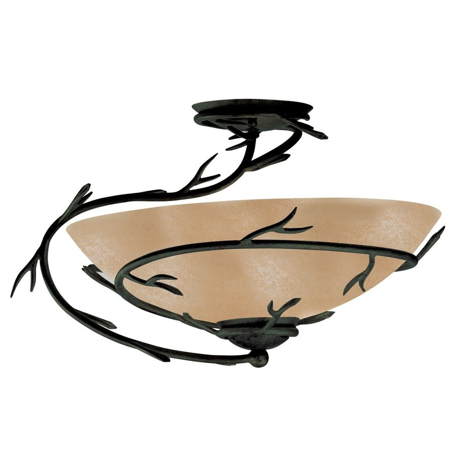 Kenroy Home Twigs 18-in W Bronze Semi-Flush Mount Light