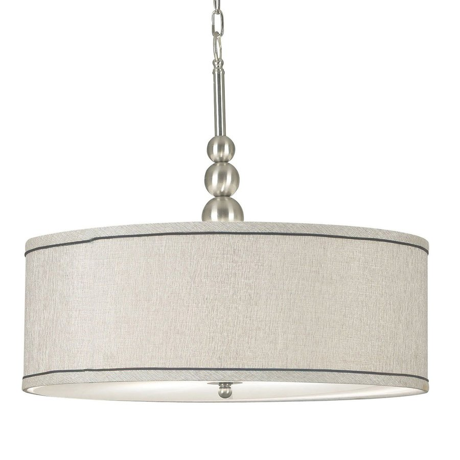 Kenroy Home Margot 22-in Brushed Steel Single Drum Pendant
