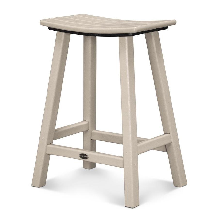 POLYWOOD Sand Plastic Patio Barstool Chair
