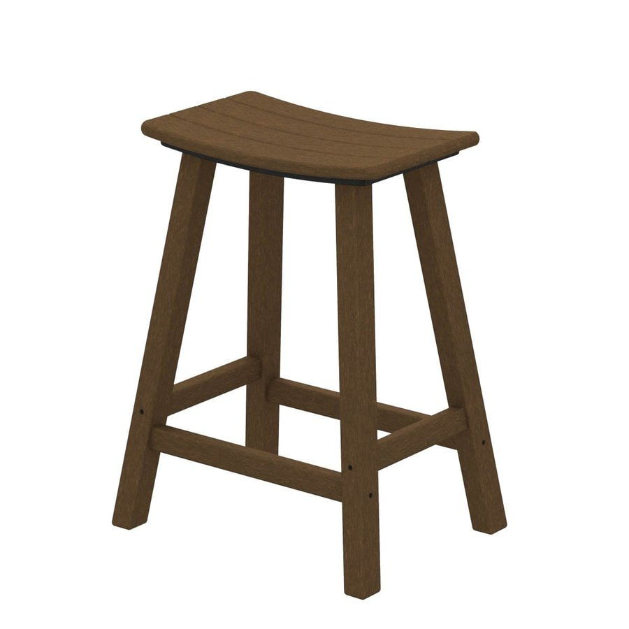 POLYWOOD Teak Plastic Patio Bar Stool Chair