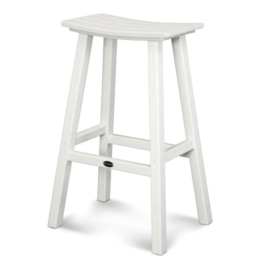 POLYWOOD White Plastic Patio Barstool Chair