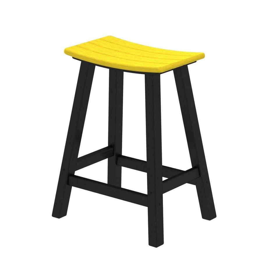 POLYWOOD Contempo Lemon Plastic Patio Barstool Chair