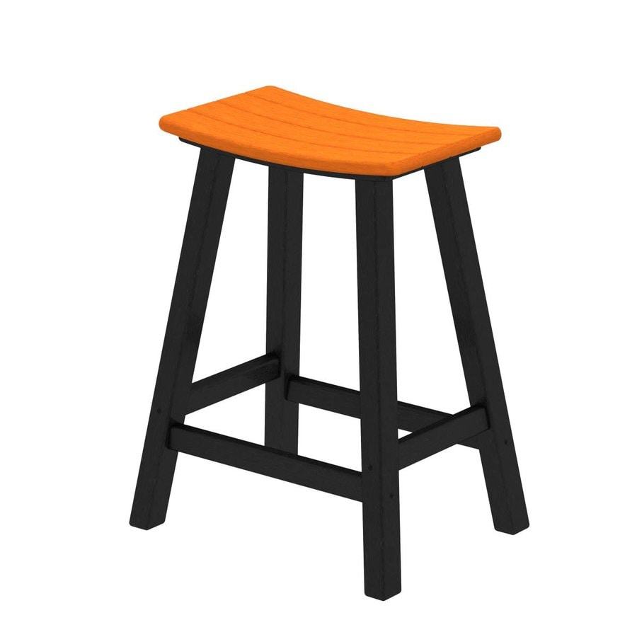 POLYWOOD Contempo Tangerine Plastic Patio Barstool Chair