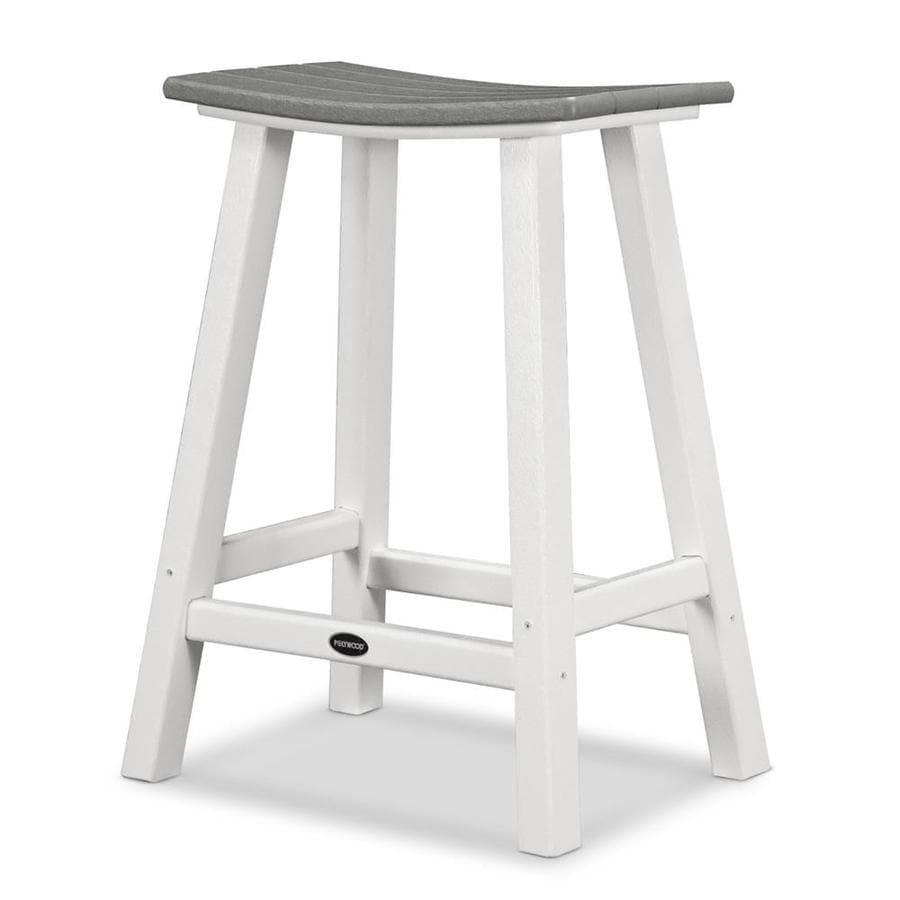 POLYWOOD Contempo Slate Grey Plastic Patio Barstool Chair