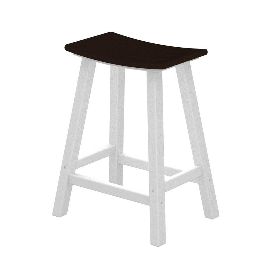 POLYWOOD Contempo Mahogany Plastic Patio Barstool Chair