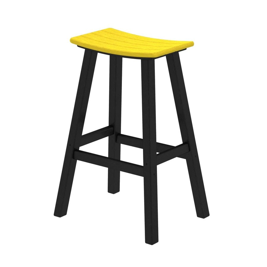 POLYWOOD Contempo Lemon Plastic Patio Bar Stool Chair