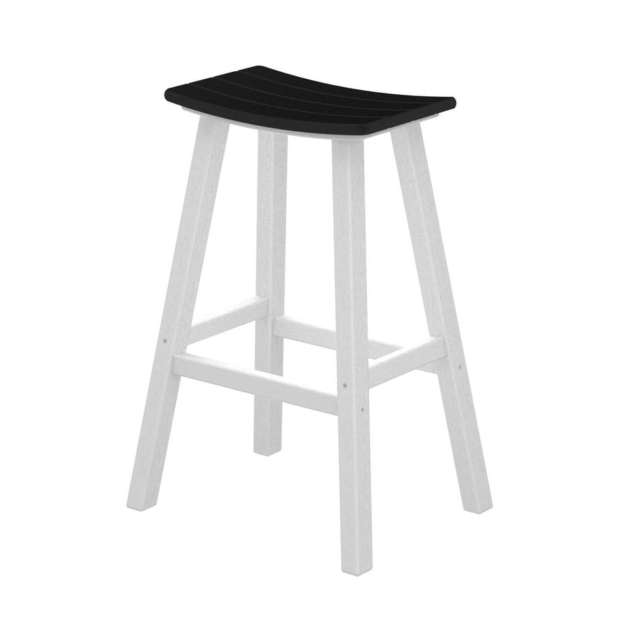 POLYWOOD Contempo Black Plastic Patio Barstool Chair