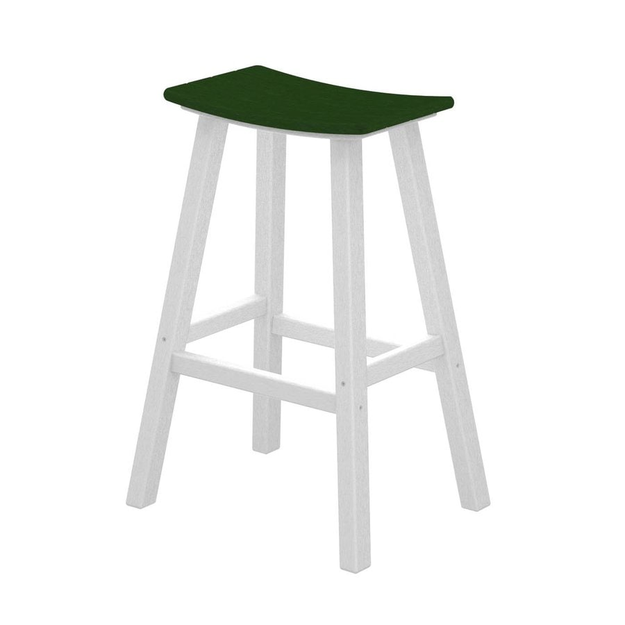 POLYWOOD Contempo Green Plastic Patio Barstool Chair