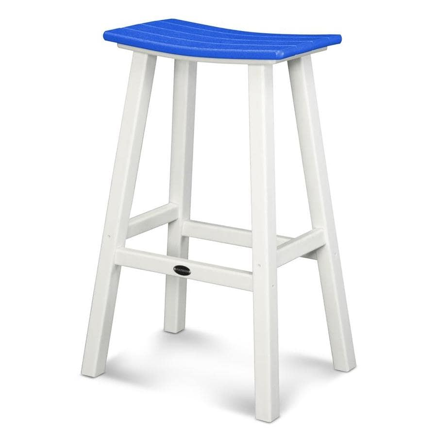 POLYWOOD Contempo Pacific Blue Plastic Patio Barstool Chair