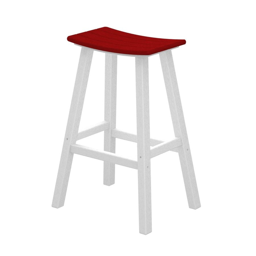 POLYWOOD Contempo Sunset Red Plastic Patio Barstool Chair