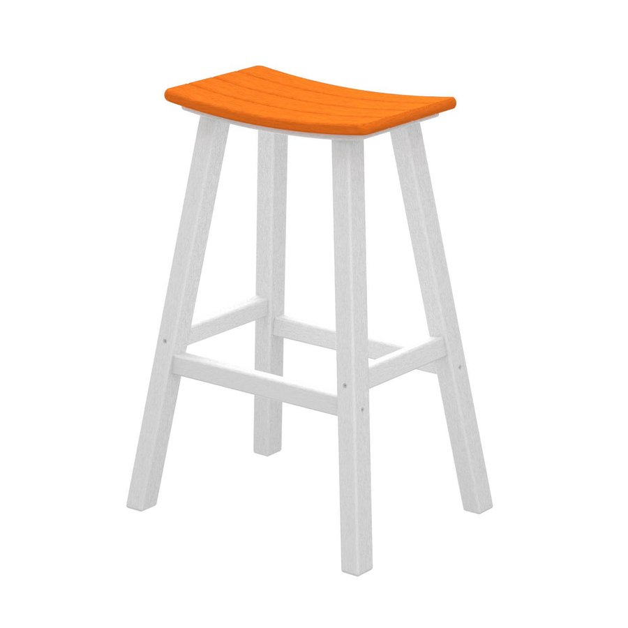 POLYWOOD Contempo Tangerine Plastic Patio Bar Stool Chair