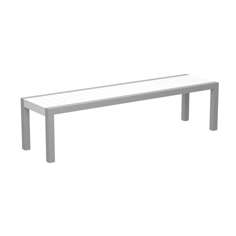 POLYWOOD Mod 18-in W x 68-in L White Plastic Patio Bench