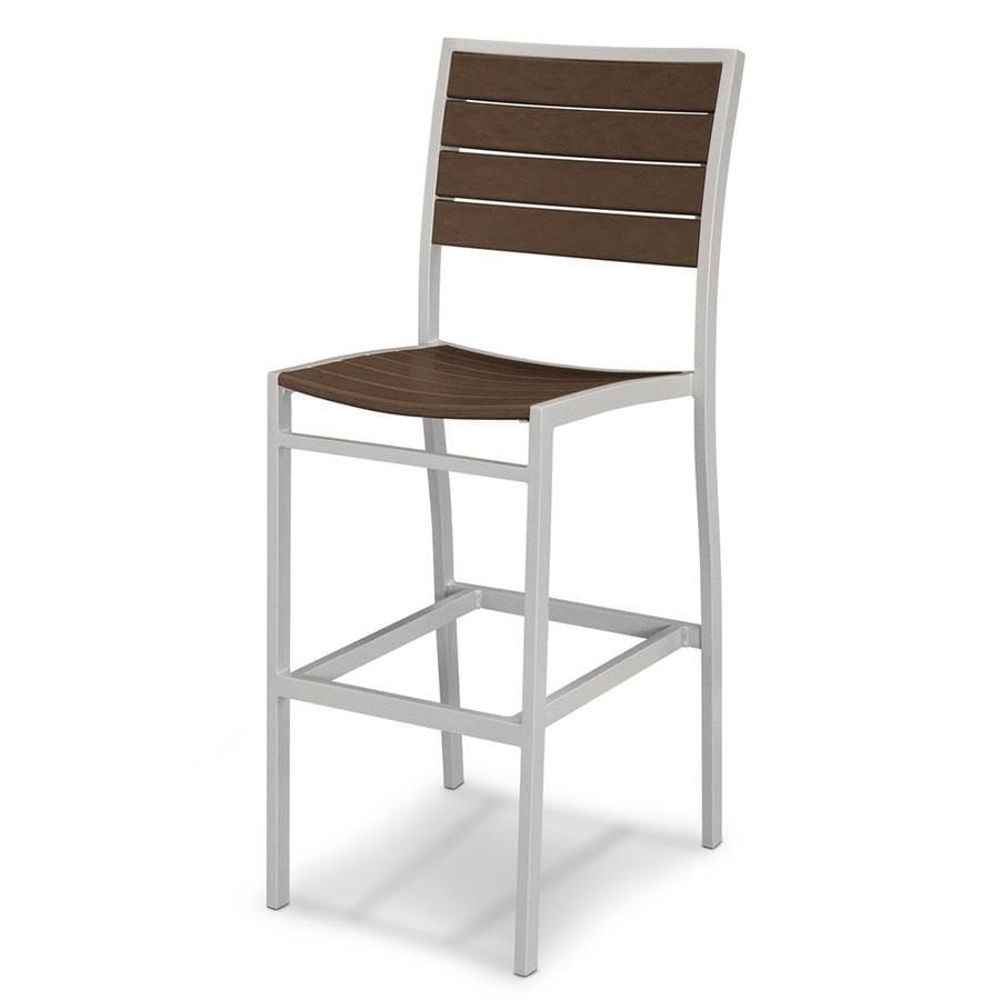 POLYWOOD Euro Mahogany Aluminum Patio Barstool Chair
