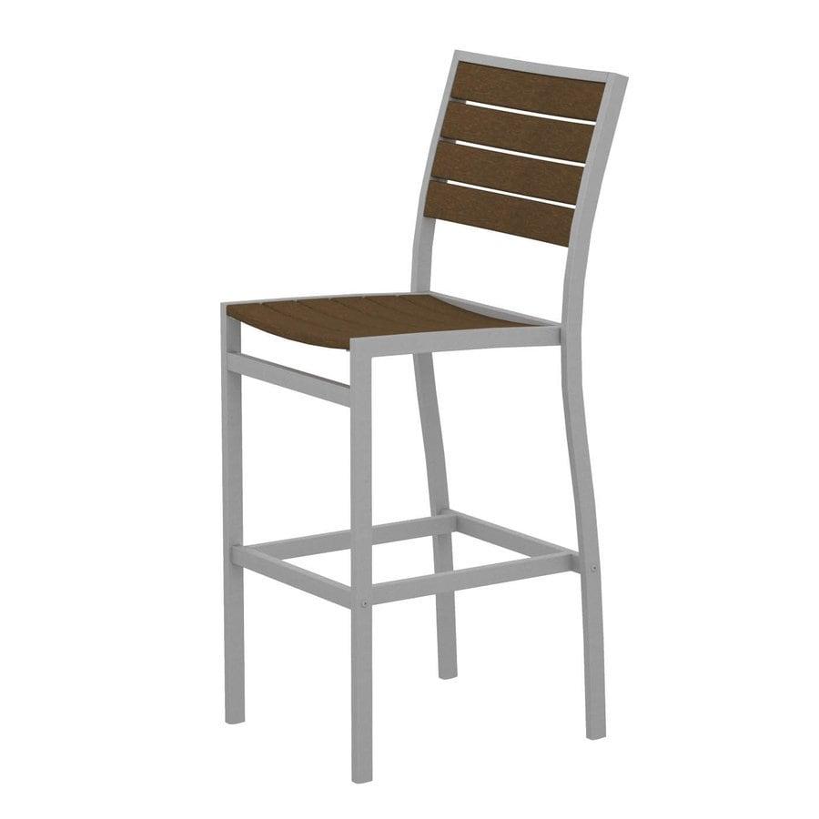 POLYWOOD Euro Teak Aluminum Patio Barstool Chair