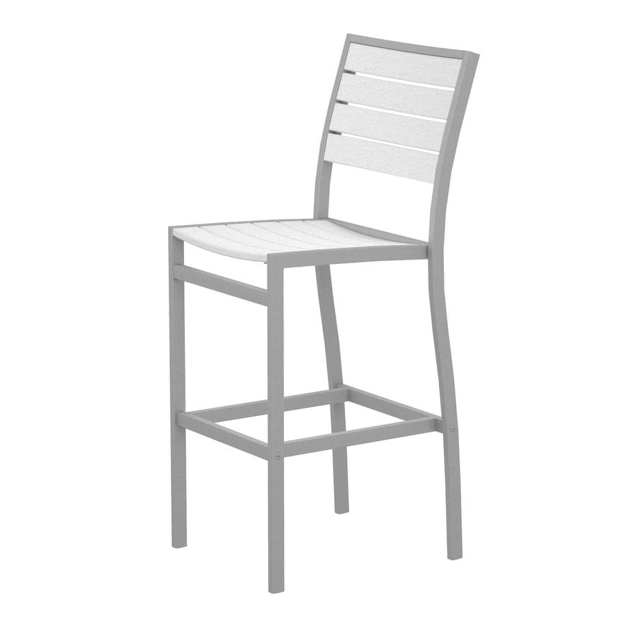 POLYWOOD Euro White Plastic Patio Bar Stool Chair