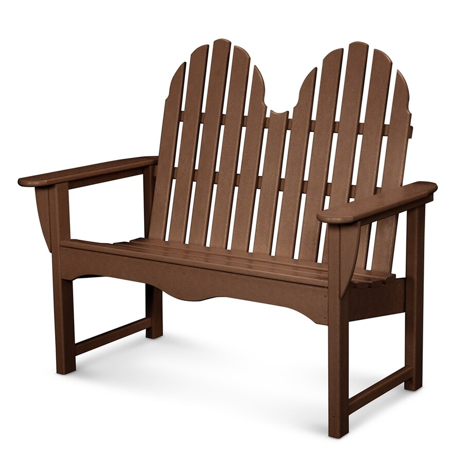 POLYWOOD Classic Adirondack 28-in W x 48.5-in L Mahogany Plastic Patio Bench