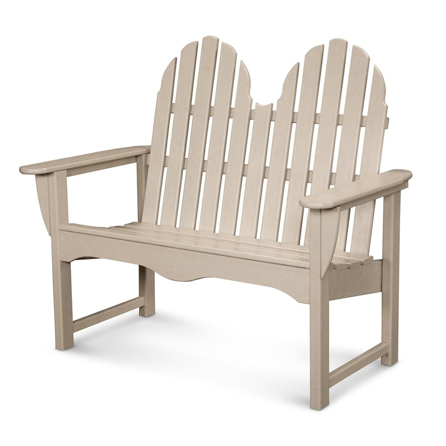 POLYWOOD Classic Adirondack 28-in W x 48.5-in L Sand Plastic Patio Bench