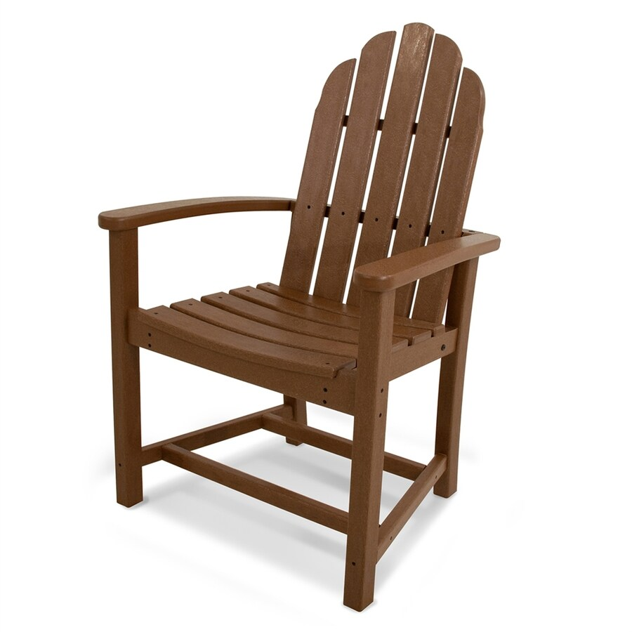 POLYWOOD Classic Adirondack Teak Finish Plastic Dining Chair